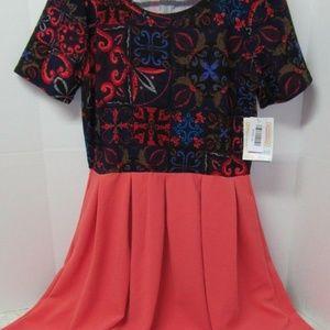 LuLaRoe XL Amelia Coral Blue Dress Pockets New